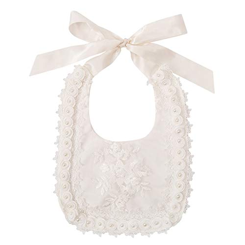 Baby Bandana Drool Bibs for Girls Boys, Princess Lace Flower Teething Bibs Royal Baptism Outfits Vintage Saliva Towel ()