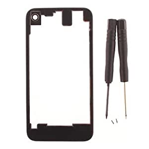 Transparent Glass Battery Cover for iPhone 4 with Screw and Screw Driver (Assorted Colors) , Black