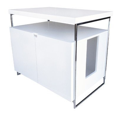 Large Cat Litter Box Hider Finish: White