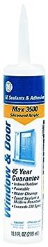 GE GE22665 Max 3500 Siliconized Acrylic Window and Door Caulk, 10.1 oz Cartridge, Gray (Case of 12)