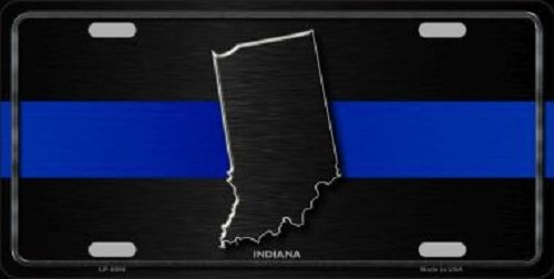 Indiana Thin Blue Line Novelty Metal License Plate