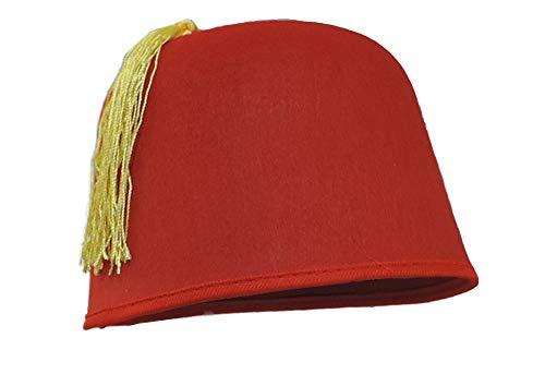 Adult Size Red Felt Dr. Who Shriner Aladdin Fez Hat w/ Gold Tassel -