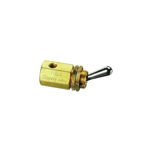 Clippard TV-2S 2-Way Toggle Valve, N-C, Enp Steel Toggle, 10-32, 8.0 SCFM At100 PSIG by clippard