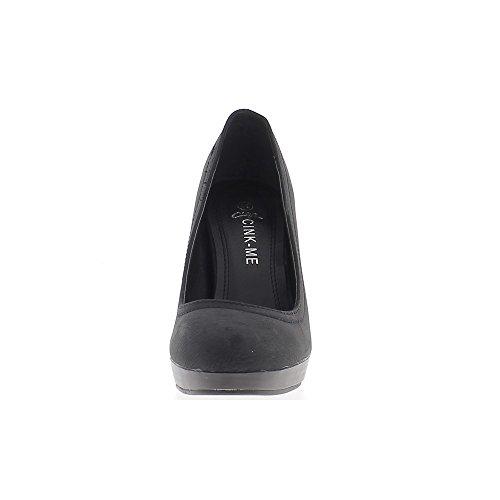 Escarpins femme noirs mats à talon de 10,5 cm et plateforme de 1,5cm talon aspect bois