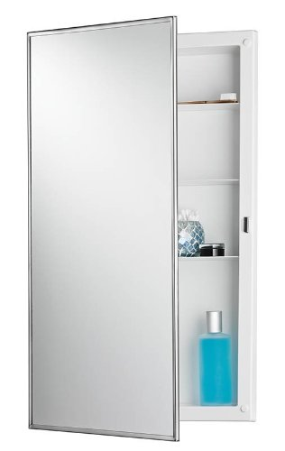 NuTone 781045 Recess Mount Cabinet with Stainless Steel Mirror Frame from the Builder Collecti, Stainless Steel Broan Recessed Steel Cabinets