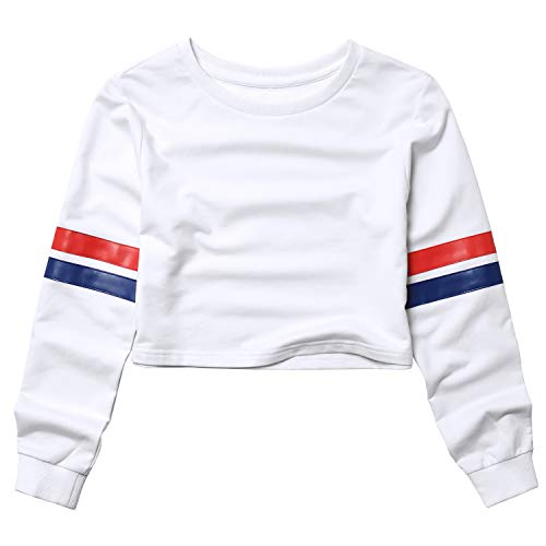 Crop Sweatshirts for Teens Girls 80s 90s Cropped Tops for Women Long Sleeve -