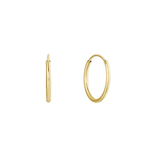 14k Yellow Gold Round Endless Hoop Earrings - 10-18mm (14 Millimeters) ()