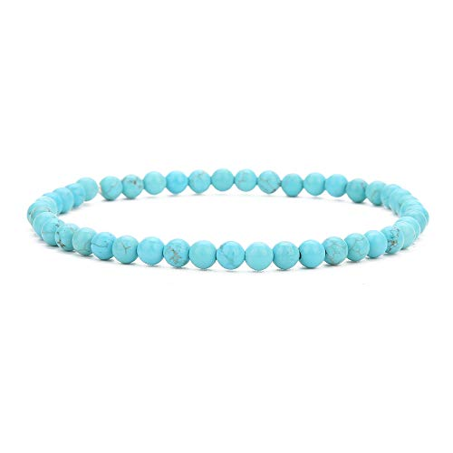 BALIBALI 4MM Mini Gemstone Energy Bracelets Tiny Turquoise Howlite Bracelet Natural Stone Statement Bracelet Charm Beaded Couples Bracelets