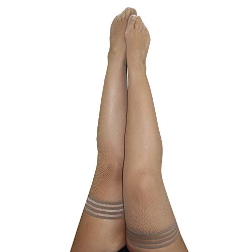 Kix`ies Thigh Highs Stockings Hold Up Nylon Pantyhose - Barely There Fishnet - Samantha (Size D)