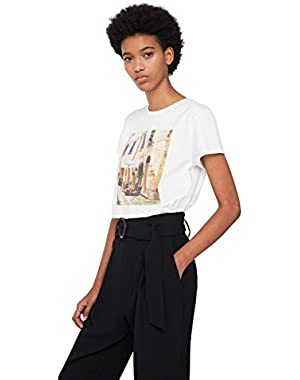 Mango Women's Printed Cotton-Blend T-Shirt
