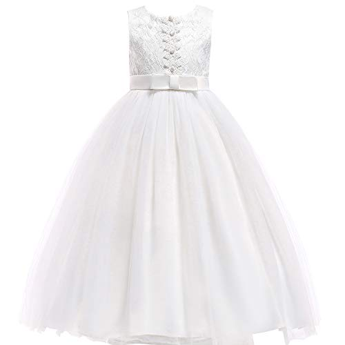 Glamulice Girls Lace Bridesmaid Dress Long A Line Wedding Pageant Dresses Tulle Party Gown Age 3-16Y (13-14Y, O-White)