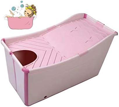折りたたみバスタブ GYF 折り畳み式バスタブ ポータブル大人用バスタブ プラスチックカバーホーム全身 子供用入浴バケツ 厚くなった大人の浴槽 折りたたみ式大浴場 90x50x56cm (Color : Pink)