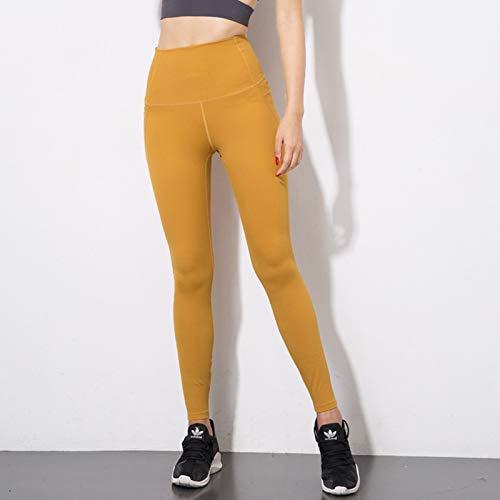 Cintura Deportivos Con Pantalones Gsyjk Gimnasio Yoga Alta Mallas Yellow Para De Correr Entrenamiento Leggings Mujeres Bolsillos n58InxHfqS