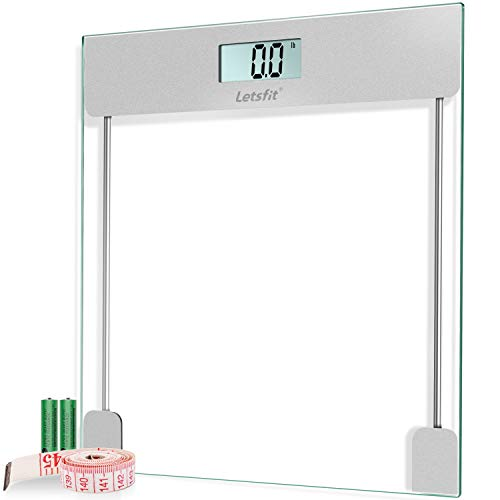 Letsfit Digital Body Weight Bathroom Scale with Step-on Technology, 6mm Slim Glass, High Accuracy and Precision 400 lbs Max, Large Premium Backlit Display, Tape Measure & Batteries Included
