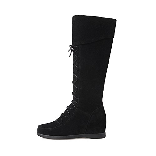 AIWEIYi up Wedge Lace Knee High Heels Suede Womens Hidden Faux Boots Black rHrqR