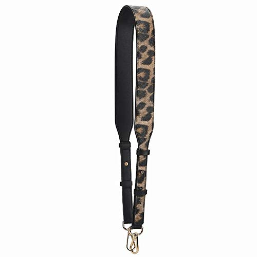 Leopard Print Pattern Adjustable Length 115cm PU Leather Strap with Golden Buckle for Replacement Women Purse Bag Handle Strap (Brown)
