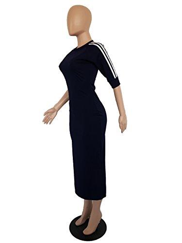 Long Navy Blue Casual Tunic Bodycon Sleeve Half Pencil Remelon Womens Midi Dress Crewneck Striped HO758xn