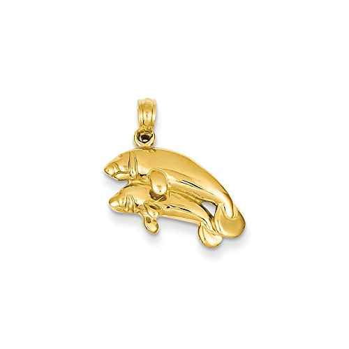 Double Manatee Pendant Seals Charm Fashion 14K Yellow Gold