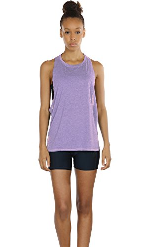 Large Product Image of icyzone Yoga Tops Activewear Workout Clothes Sports Racerback Tank Tops for Women (M, Black/Grey/Lavender)