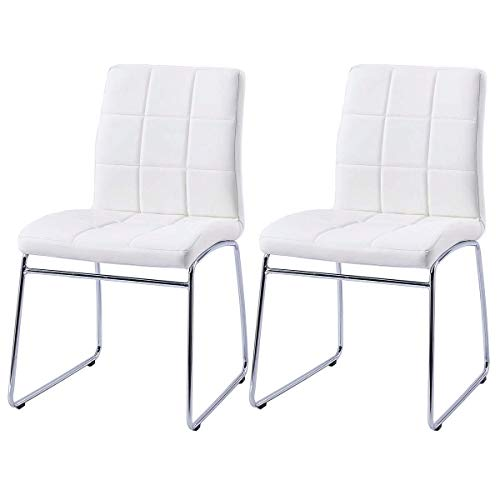 Modern Dining Chairs Set of 2, Dining Room Chairs with Faux Leather Padded Seat Back in Checkered Pattern and Sled Chrome Legs, Kitchen Chairs for Dining Room, Kitchen, Living Room, White Chairs Set