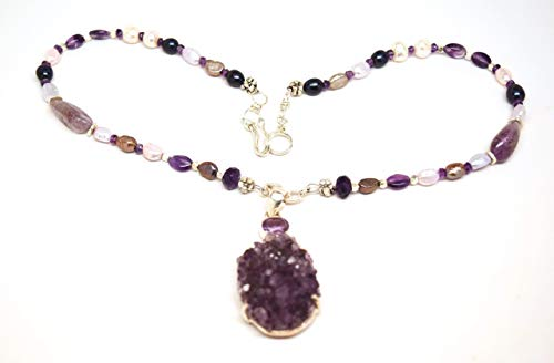 Druzy Amethyst Necklace with Fresh Water Pearls, Karen Hill Tribe Beads on Beading Wire