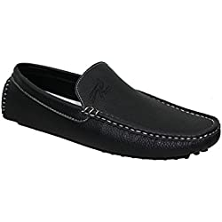 Brix Men's Hayden Classic Fashion Mocassins On The Go Flat Heel Driving Slip On Casual Loafer Shoes (13, Black)
