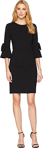 Donna Morgan Women's 3/4 Bell Sleeve Shift Dress with Bow Detail, Black, -