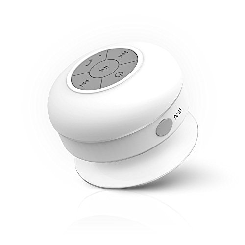 Sudroid Waterproof Wireless Bluetooth Shower Speaker with Built-in Mic White