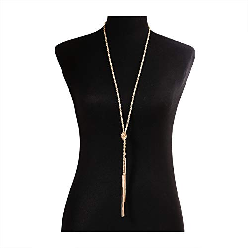 Lariat Tassel Necklaces for Women Gold Long Knotted Chain Necklac Y Adjustable Tassel Pendant
