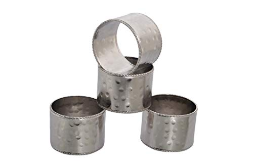 Beaded Edges Hammered Metal Napkin Rings for Wedding Party Decoration Dinning Table Occasion Everyday Family Gatherings, Set of 4 - Silver/Nickel - A Beautiful Emphasize to Your Dining Table décor