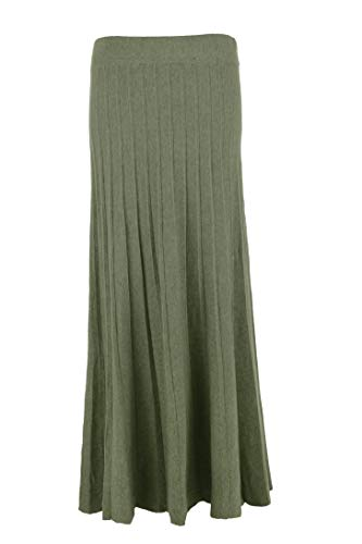 TEXTURE Ladies Womens Italian Lagenlook Pleated Ribbed Knit Long Maxi Skirt One Size (Khaki, One Size)