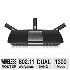 Up to 4.3x Faster than Conventional Wireless Get superior performance and enjoy speeds up to 4.3x faster than wireless-N with the Linksys AC1900 Dual-Band Smart Wi-Fi Router. Using wireless-AC technology this router offers exceptional data st...