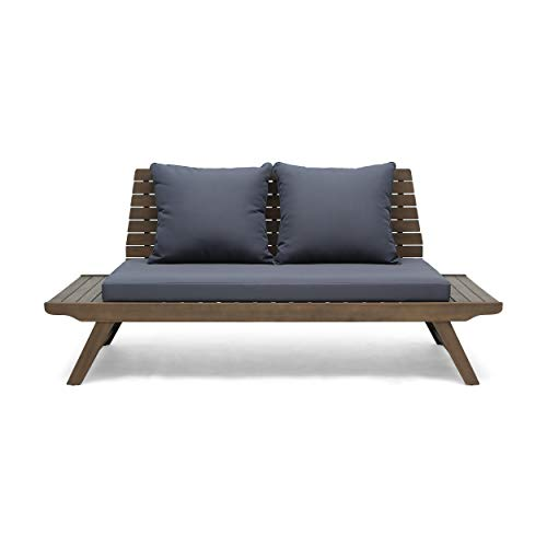 Christopher Knight Home Kailee Outdoor Wooden Loveseat with Cushions, Dark Gray and Gray Finish