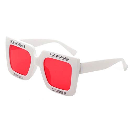 Légères de et Lunettes Carrées Durables Rouge Grandes Lunettes de des Soleil de Deylaying Plastique en Lettre Blanc Imprimant UV400 Bloquant qaX7x4Z