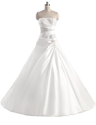 Erosebridal Sweetheart Wedding Dress A Line Satin Sequin Beaded Bridal Gowns