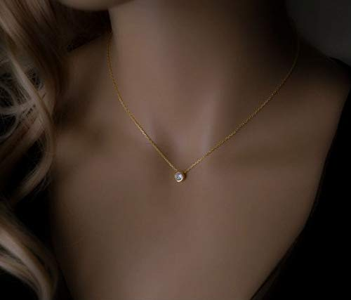 Amazon Com Gold Diamond Necklace Minimalist Cubic Zirconia Simple Choker In Sterling Silver Handmade