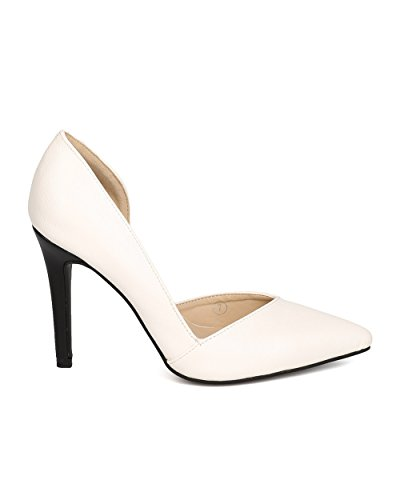 C Label Ff87 Dames Kunstleer Spitse Neus Dorsay Stiletto Pump - Wit