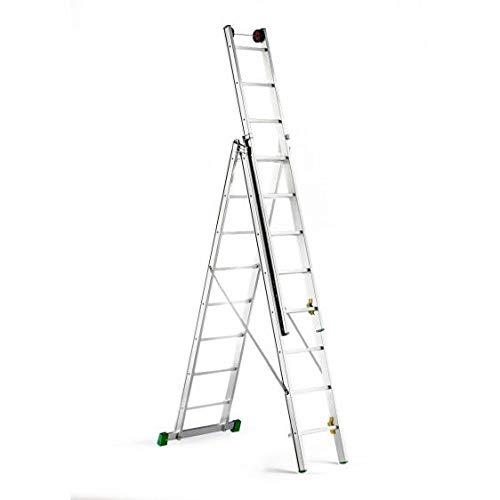Disset Odiseo PDL0028 Escalera Profesional Omega con Caballete Triple con Patas Fijas, 3x10 Peldaños, 150 Kg Carga, 7200 mm Altura, 480 mm Anchura: Amazon.es: Industria, empresas y ciencia