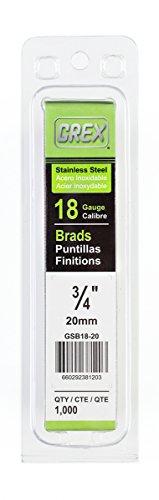 Grex Power Tools GSB18-20 18 Gauge Stainless Steel 3/4-Inch Length Brad Nails (1,000 per Pack) 3/4