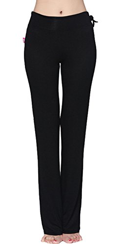 SL Women's Stretchy Cotton-blend Yoga Pants Flare Leg Workout Leggings CK120 Black S (Cheap Coloured Wigs)