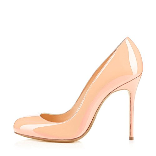 Nancy on 6 Round Slip for Leather Shoes Women Nude Genuine Formal Toe Jayjii Stiletto rq6Zr