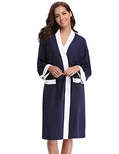 Abollria Unisex Soft Kimono Cotton Robe Long Solid Bathrobe Lightweight Sleepwear,X-Large,Navy