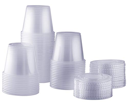 [100 Sets - 5.5 oz.] Plastic Disposable Portion Cups With Lids, Souffle Cups, Condiment - Granola 9 Oz