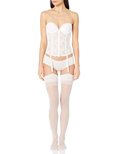 Va Bien Women's Lace Low Back Bustier, White, 36C