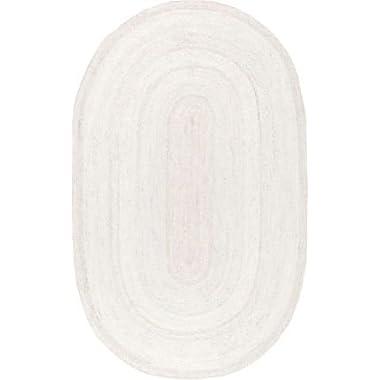 Nuloom 4' x 4' Hand Woven Rigo Jute Round Rug in White