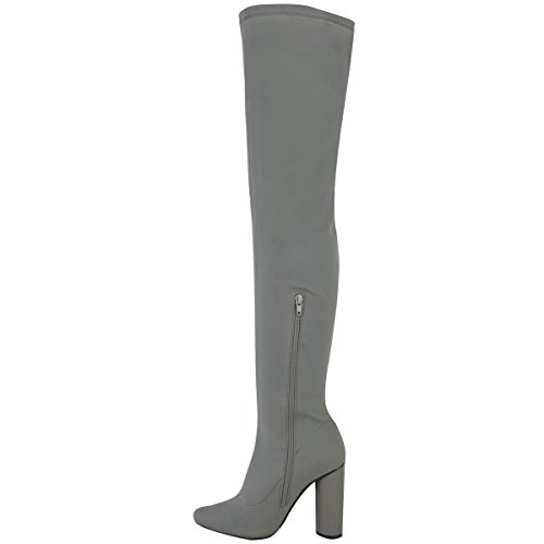 Over Stretch Womens Grey Lycra Boots Knee Thirsty High Fashion High The Thigh Size Lycra Heels w04RWqf