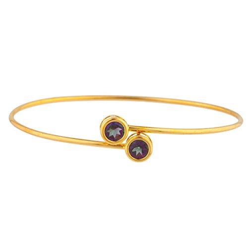 Elizabeth Jewelry Natural Mystic Topaz Round Bezel Bangle Bracelet 14Kt Yellow Gold Plated Over .925 Sterling Silver ()