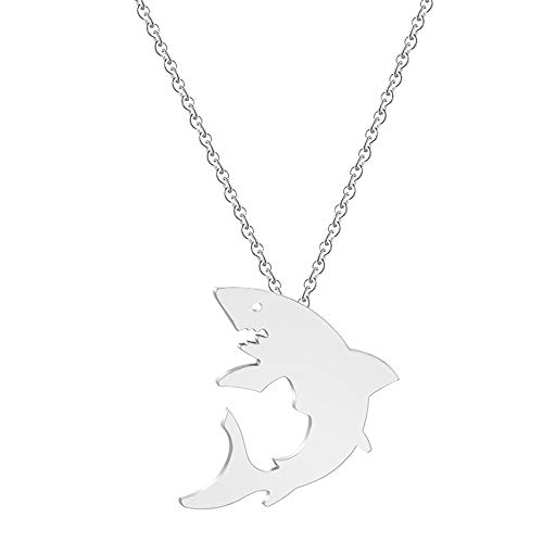 chengxun Cute Great Shark Silhouette Pendant Chain Necklace for Women Girls Child Gift Collars Jewelry -