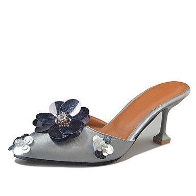pwne Las Mujeres Talones Del Agujero De Verano Zapatos Casual Vestimenta Exterior De Piel Sintética Stiletto Talón Hebilla Marrón Oscuro Negro Plateado Caminando US6 / EU36 / UK4 / CN36