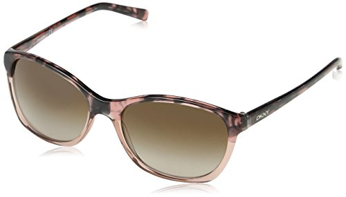 DKNY Women's Plastic Woman Square Sunglasses, Brown Havana on Pink Tra, 56 - Dkny Ladies Sunglasses
